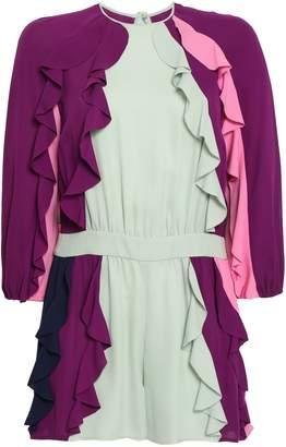 Valentino Ruffled Color-block Silk-georgette Playsuit