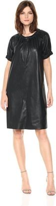 BCBGMAXAZRIA Azria Women's Dina Knit Faux Leather Dress with Zip Detail