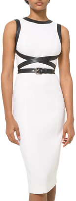 Michael Kors Collection Crisscross Leather Sheath Dress