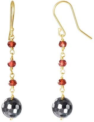 Overstock 14K Garnet Hematite Dangle Hook Earring