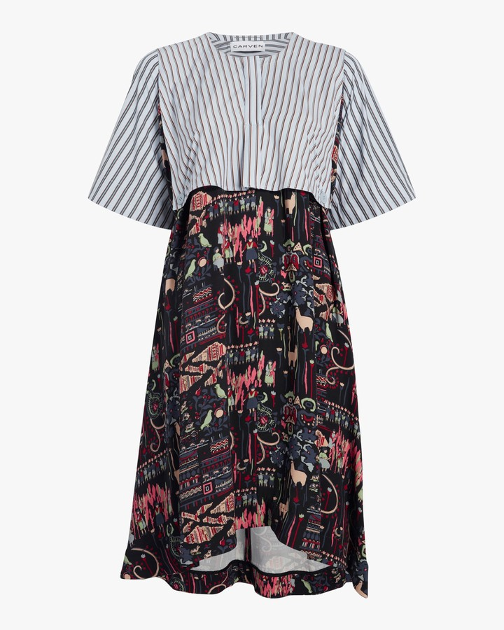 Carven Mixed Print Dress