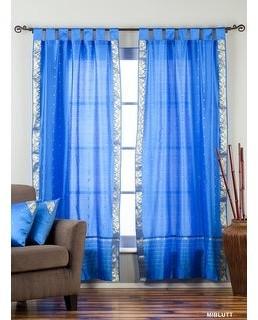 Indian Selections Blue Tab Top Sheer Sari Curtain / Drape / Panel - Piece