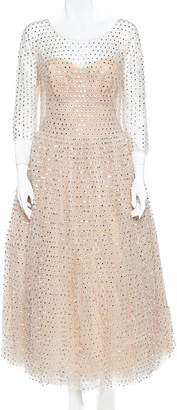 Dolce & Gabbana Cream Crystal Embellished Tulle Gown L