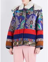 Etro Oversized shearling-trim satin-jacquard and wool-felt jacket
