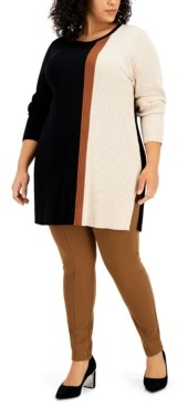Alfani Plus Size Colorblocked Ribbed Tunic Top, Created for Macy's