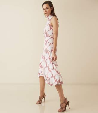 Reiss Doriana Print - Swirl Printed High Neck Midi Dress in Pink Swirl