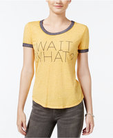 Hybrid Juniors' Wait What? Ringer Graphic T-Shirt