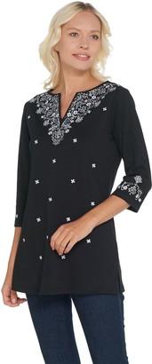 Quacker Factory Bandana Embroidered 3/4 Sleeve Knit Tunic