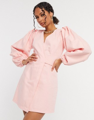 ASOS DESIGN denim wrap puff sleeve mini dress in light pink