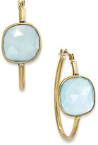 10k Gold Earrings, Square-Cut Medium Blue Chalcedony Hoop Earrings (5-1/5 ct. t.w.)
