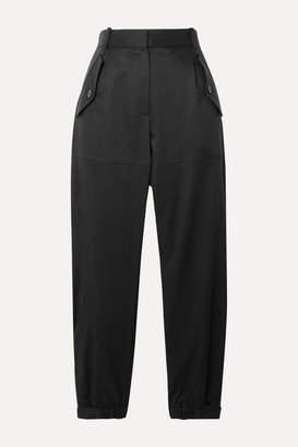 Nili Lotan Arliss Cropped Lyocell-blend Twill Tapered Pants - Black