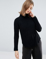 NATIVE YOUTH Chenille Structured High Neck Sweater