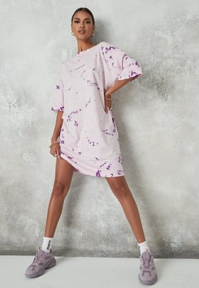 Missguided Tall Purple Tie Dye Oversized T Shirt Dress