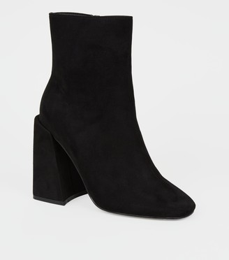 New Look Suedette Flared Heel Square Toe Boots