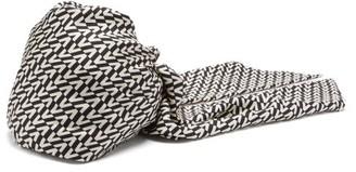 Valentino Logo-printed Silk Turban Headband - Black White