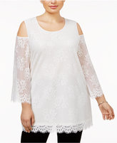 Alfani Plus Size Lace Cold-Shoulder Top, Created for Macy's