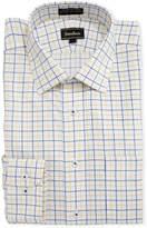 Neiman Marcus Non-Iron Dobby Grid Dress Shirt, Yellow