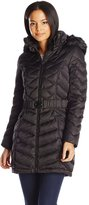 Laundry by Shelli Segal Women's Belted Down Coat with Faux Fur Hood