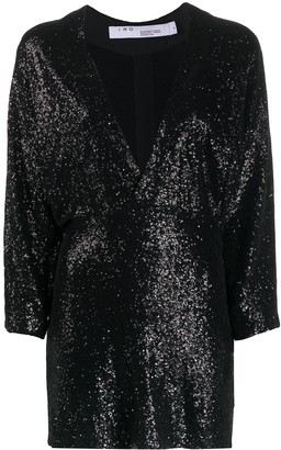 IRO deep V-neck sequin embroidered dress