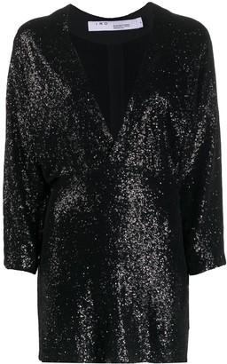 IRO deep V-neck sequin embroidered dress
