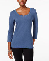 Karen Scott Three-Quarter-Sleeve V-Neck Top, Only at Macy's