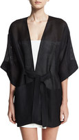 Halston Sheer Kimono Wrap Jacket w/ Topstitched Sash, Black