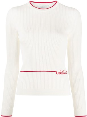 Valentino Embroidered Logo Ribbed Jumper