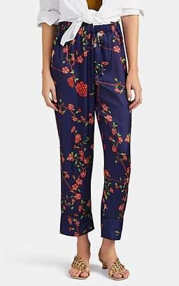 LoboRosa Women's Bird- & Floral-Print Satin Pajama Pants
