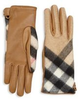 Burberry Leather & Check Cashmere Gloves