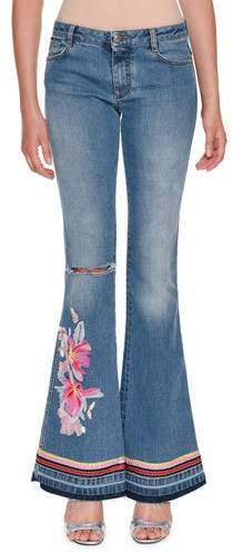 Ermanno Scervino Low-Rise Faded Denim Flared-Leg Jeans with Floral-Embroidery