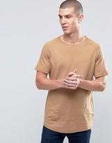 Selected Drop Hem Curved O Neck Sweat T-Shirt