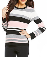 Investments Pullover Crew Neck Long Sleeve Striped Sweater