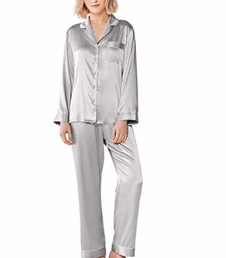 Sanfo Womens Silk Satin Pajamas Set Sleepwear Loungewear M~5XL Plus_Gifts Green