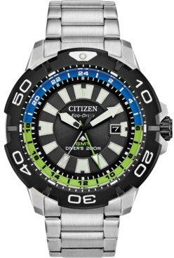 Citizen Eco-Drive Men's Promaster Gmt Diver Stainless Steel Bracelet Watch 44mm