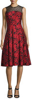 Carmen Marc Valvo Sleeveless Floral Jacquard Fit-and-Flare Dress, Red