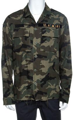 Amiri Green Camo Print Cotton Raw Edge Distressed Military Shirt L