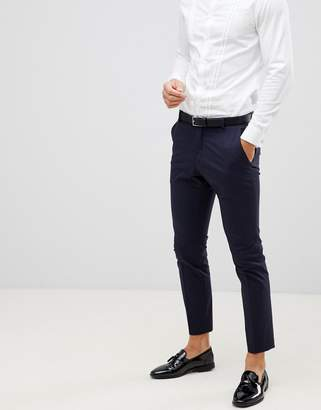 Selected Navy Tuxedo Suit Trouser With Satin Lapel In Slim Fit