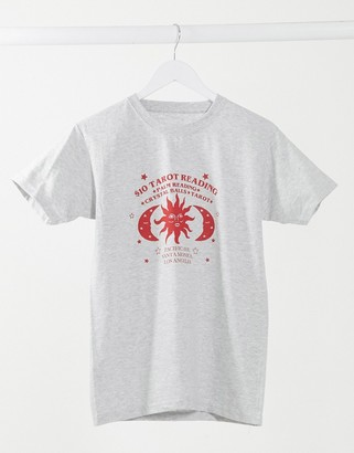 Daisy Street relaxed T-shirt with tarot reading graphic in heather