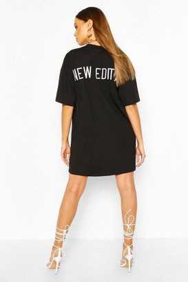 boohoo Embroidered Back Slogan Oversized T-shirt Dress