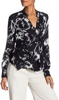 Nicole Miller Front Tie Silk Blouse