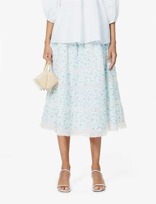 LoveShackFancy Eponda floral-print high-waist cotton midi skirt