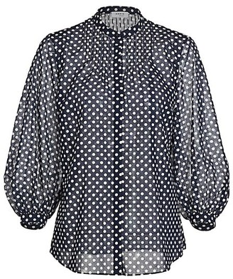 Akris Punto Polka Dot Puff-Sleeve Cotton Blouse