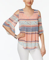 Style&Co. Style & Co Style & Co Petite Printed Cold-Shoulder Top, Created for Macy's