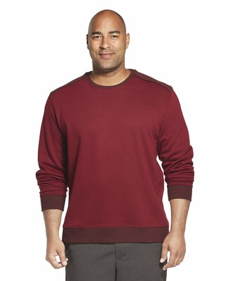Van Heusen Men's Big & Tall Big Long Sleeve Flex Fleece Blocked Crewneck Pullover