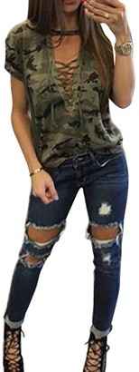 Yying Women Sexy T-Shirt Camouflage V Neck Lace Up Halter Top Green L