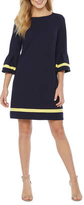 R & K Originals 3/4 Bell Sleeve Bordered Shift Dress