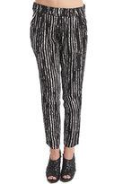 Arina Silk Pant in Black Stripe