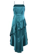 True Decadence Teal Satin Low Back Midi Dress