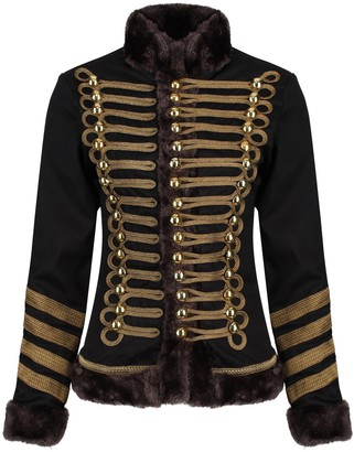 Ro Rox Womens Military Parade Jacket Black & Shimmering Brown Trims with Faux Fur - (UK 8)