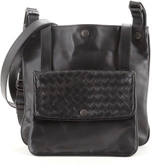 Bottega Veneta Front Pocket Messenger Bag Leather with Intrecciato Detail Small